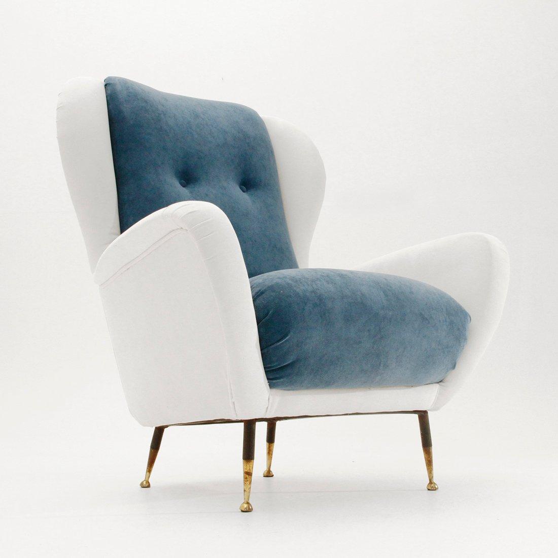 Italian Mid Century White And Blue Velvet Armchair, 1950s