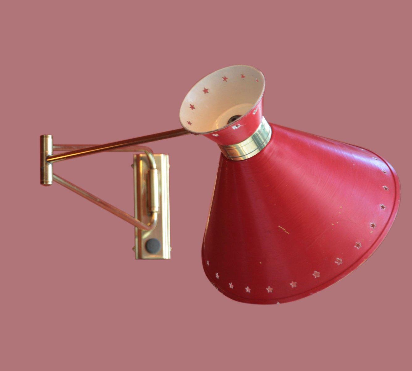 Rote Diabolo Wandleuchte von Rene Mathieu für Lunel, 1950er