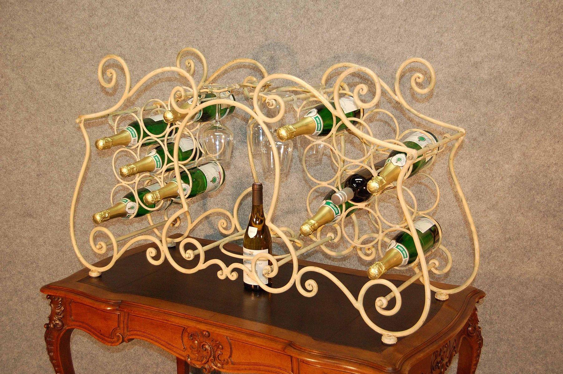 Porte bouteilles vintage en fer forg 1960s en vente sur pamono for Prix porte en fer forge