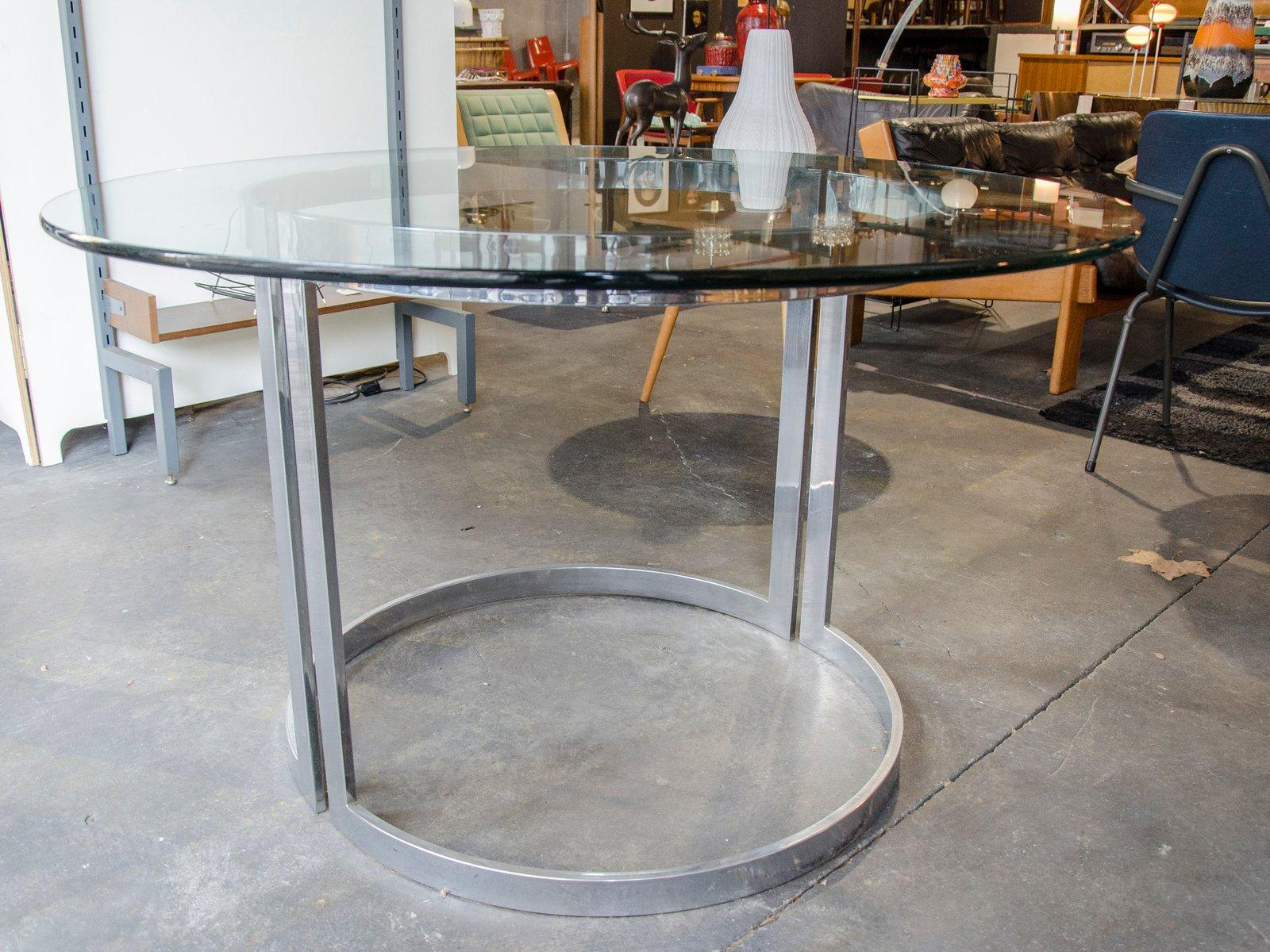 table de salle manger en chrome avec plateau en verre par milo baughman 1970s en vente sur pamono. Black Bedroom Furniture Sets. Home Design Ideas