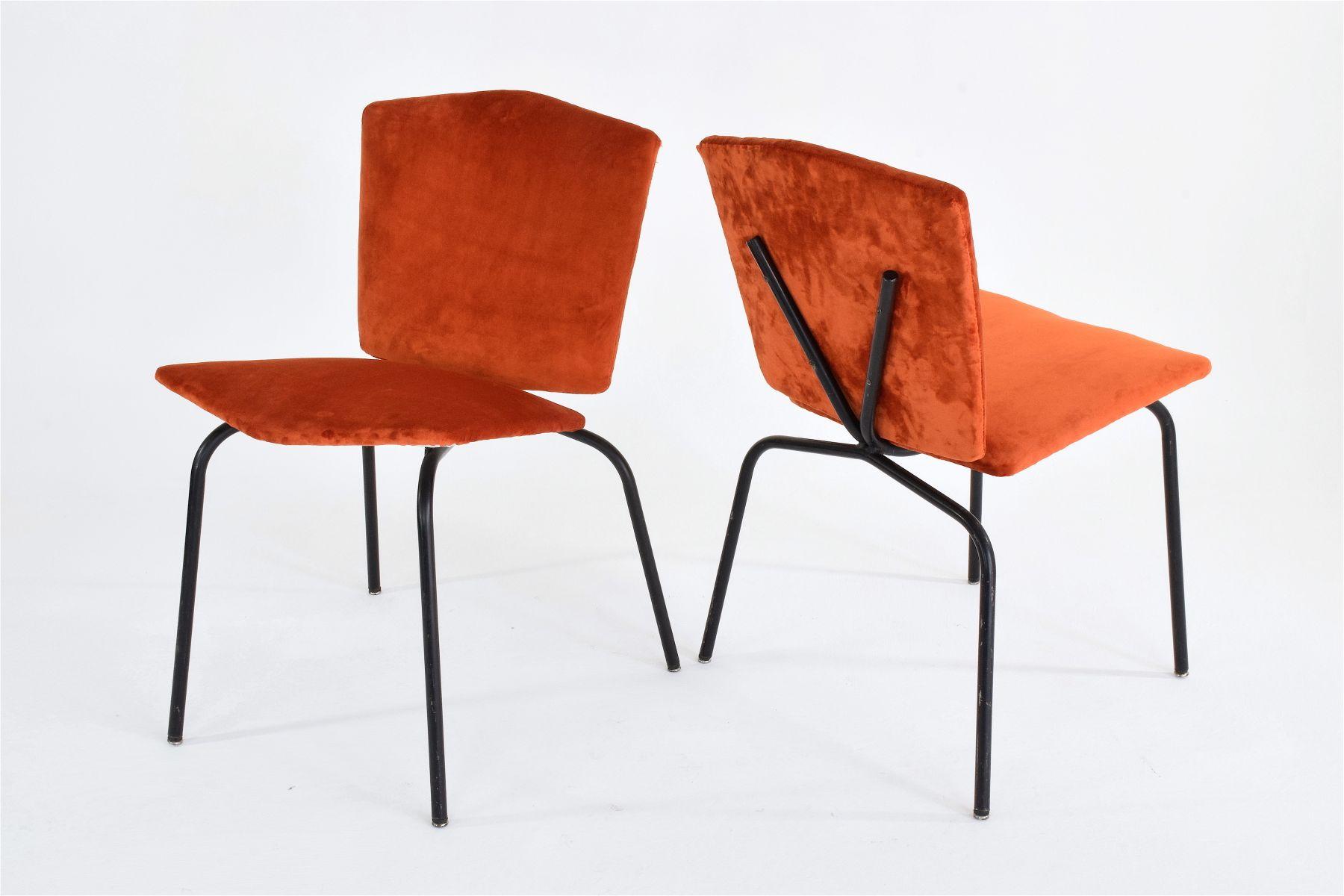 Sedie mid century di velluto francia set di 2 in vendita for Sedie design velluto