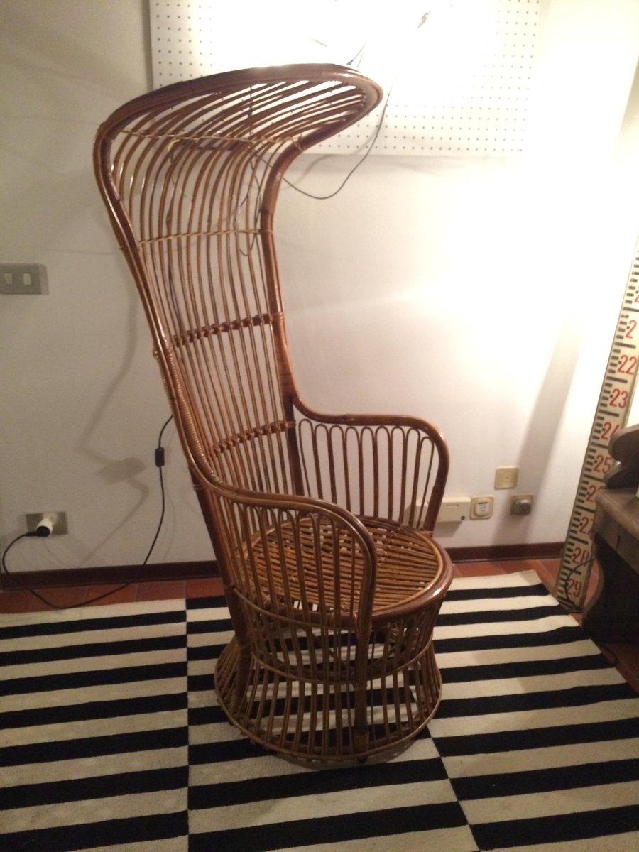 italienischer sessel mit hoher r ckenlehne aus rattan von bonacina 1950er bei pamono kaufen. Black Bedroom Furniture Sets. Home Design Ideas