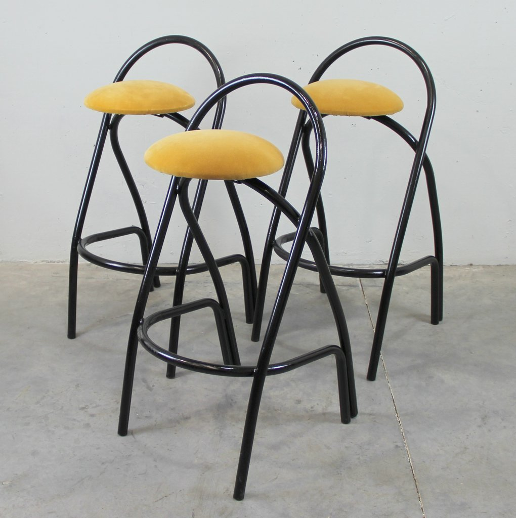 italian vintage iron bar stools set of 3 for sale at pamono. Black Bedroom Furniture Sets. Home Design Ideas