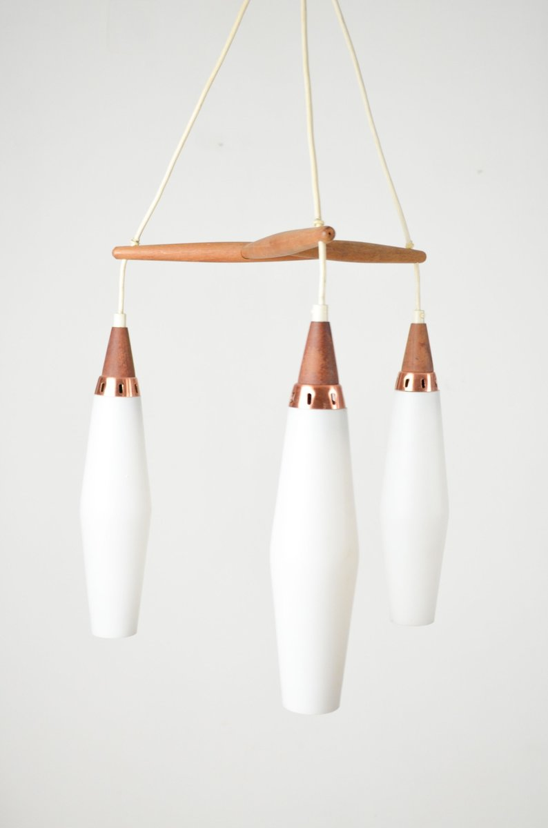 Mid Century Ceiling Light With Teak And Copper Details