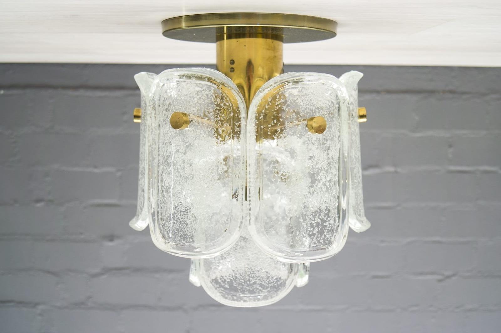 Deckenlampe mit Neun Schweren Eisglas Elementen von Limburg, 1960er