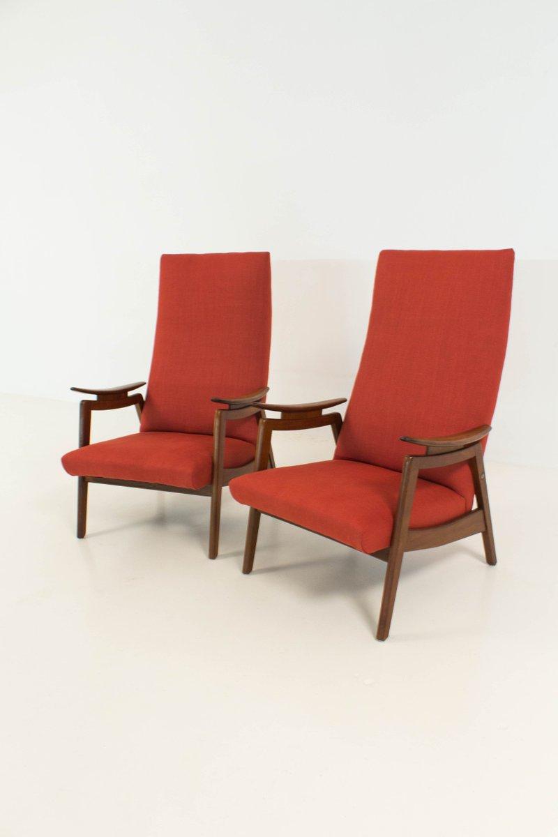 rote mid century modern high back sessel 1960er 2er set bei pamono kaufen. Black Bedroom Furniture Sets. Home Design Ideas