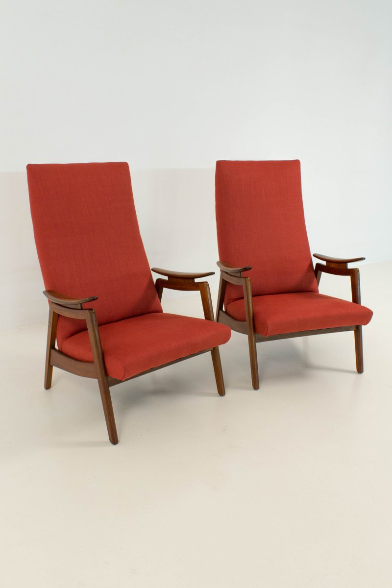 Mid Century Modern Red High Back Chairs, 1960s, Set Of 2