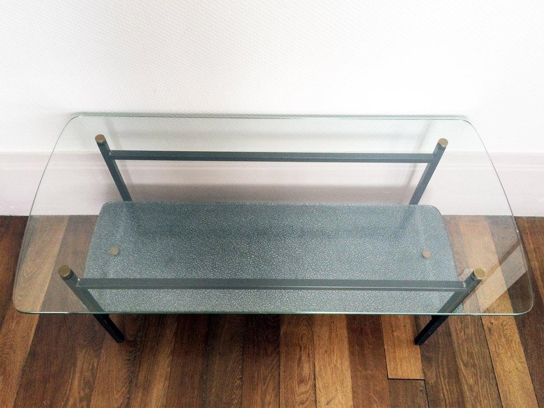 Moderner glas metall couchtisch 1950er bei pamono kaufen - Couchtisch metall glas ...