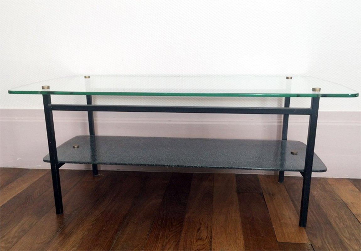 table basse moderniste en verre m tal 1950s en vente sur pamono. Black Bedroom Furniture Sets. Home Design Ideas