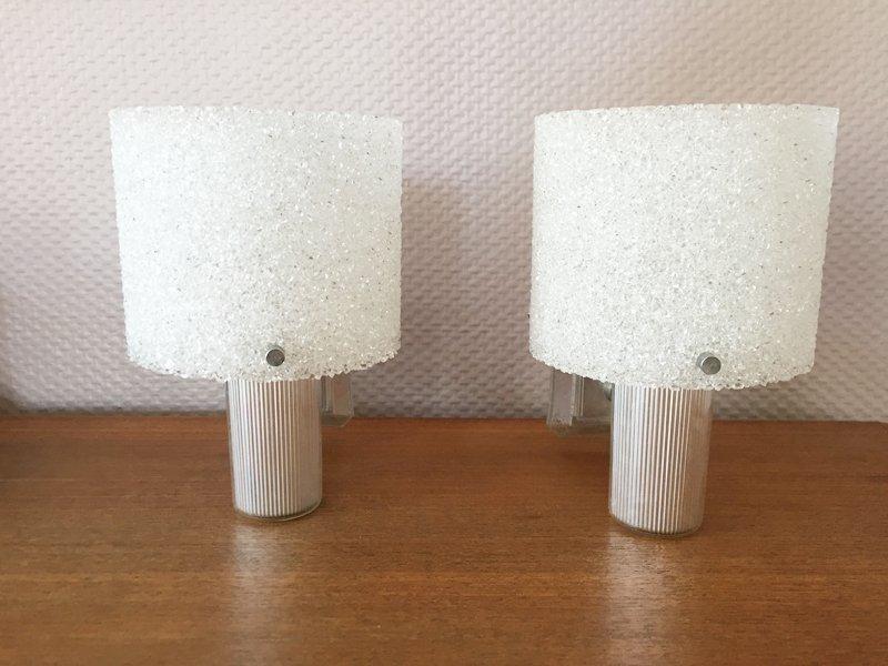 Texturierte Weiße Wandlampen, 1950er, 2er Set