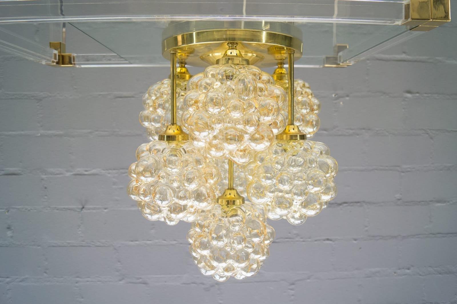 Goldene Bubble Glas Deckenlampe von Helena Tynell für Limburg, 1960er