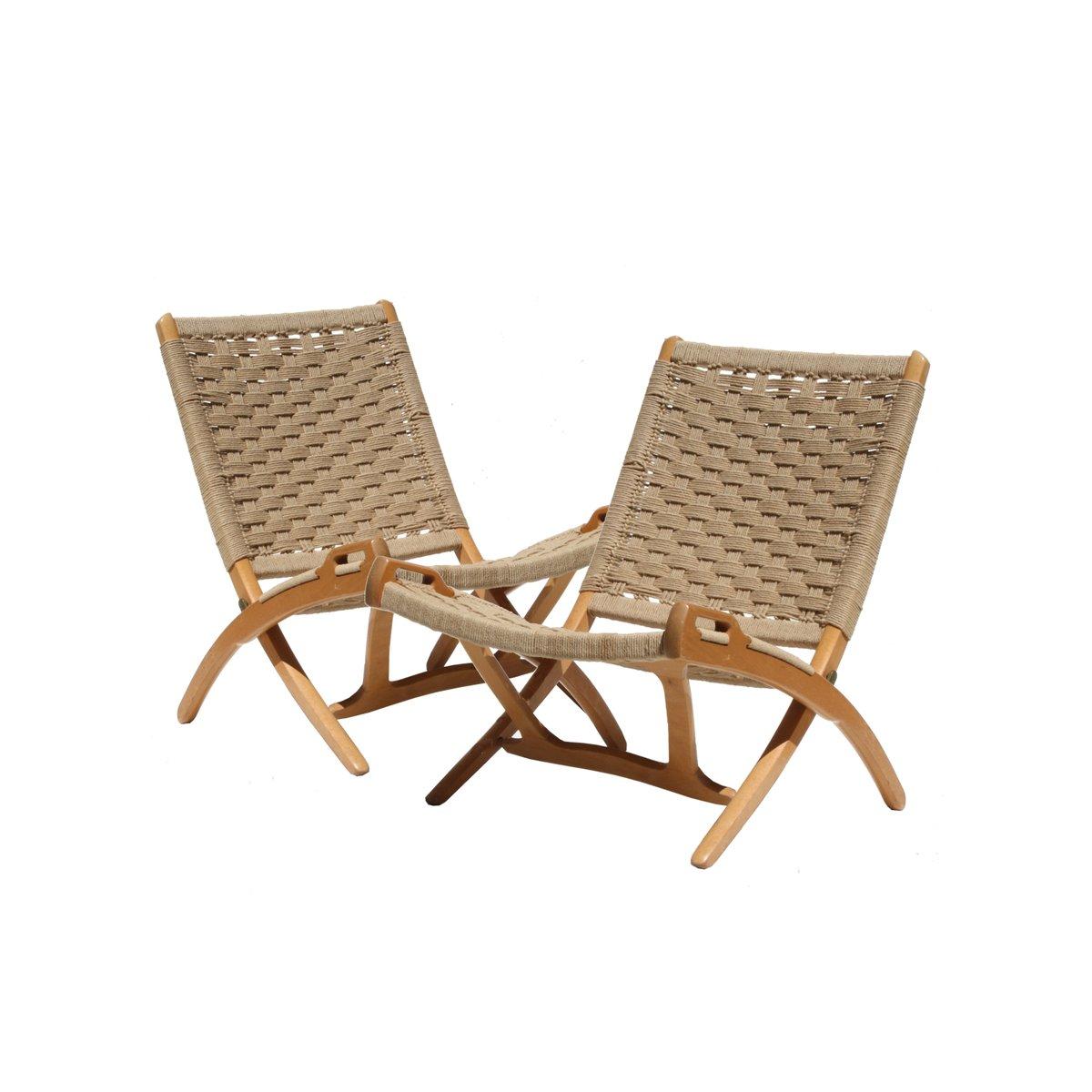 Danish Mid Century Oak U0026 Natural Fiber Folding Chairs, Set Of 2