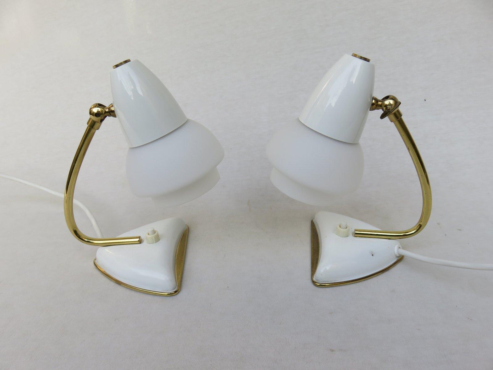 Weiße Italienische Nachttischlampen, 1950er, 2er Set
