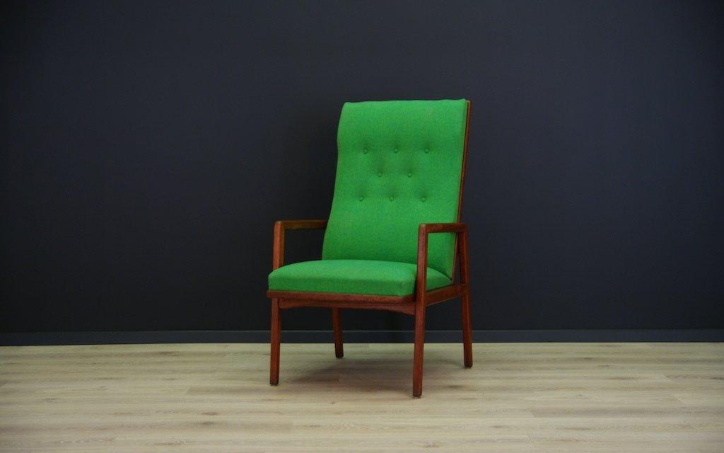 Dänischer Vintage Sessel mit Grünem Stoff