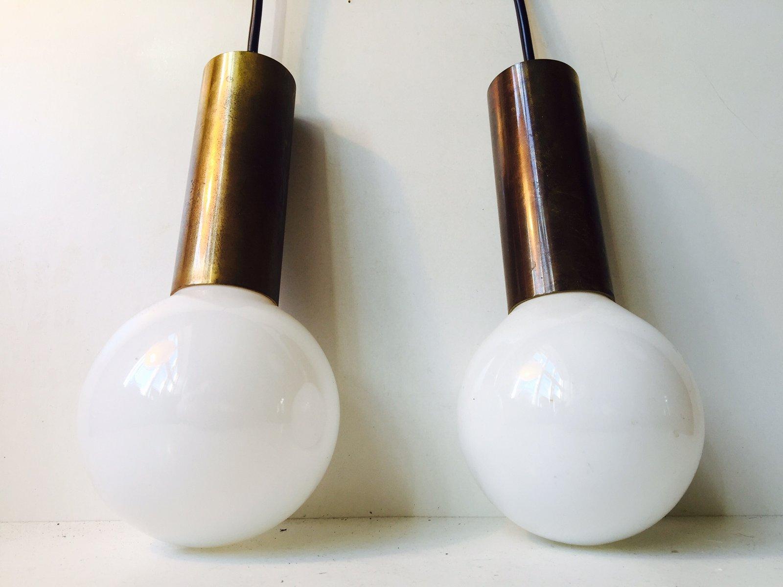 Mid-Century Single-Ball Brass Pendant Lights by Frimann, 1960s, Set of...