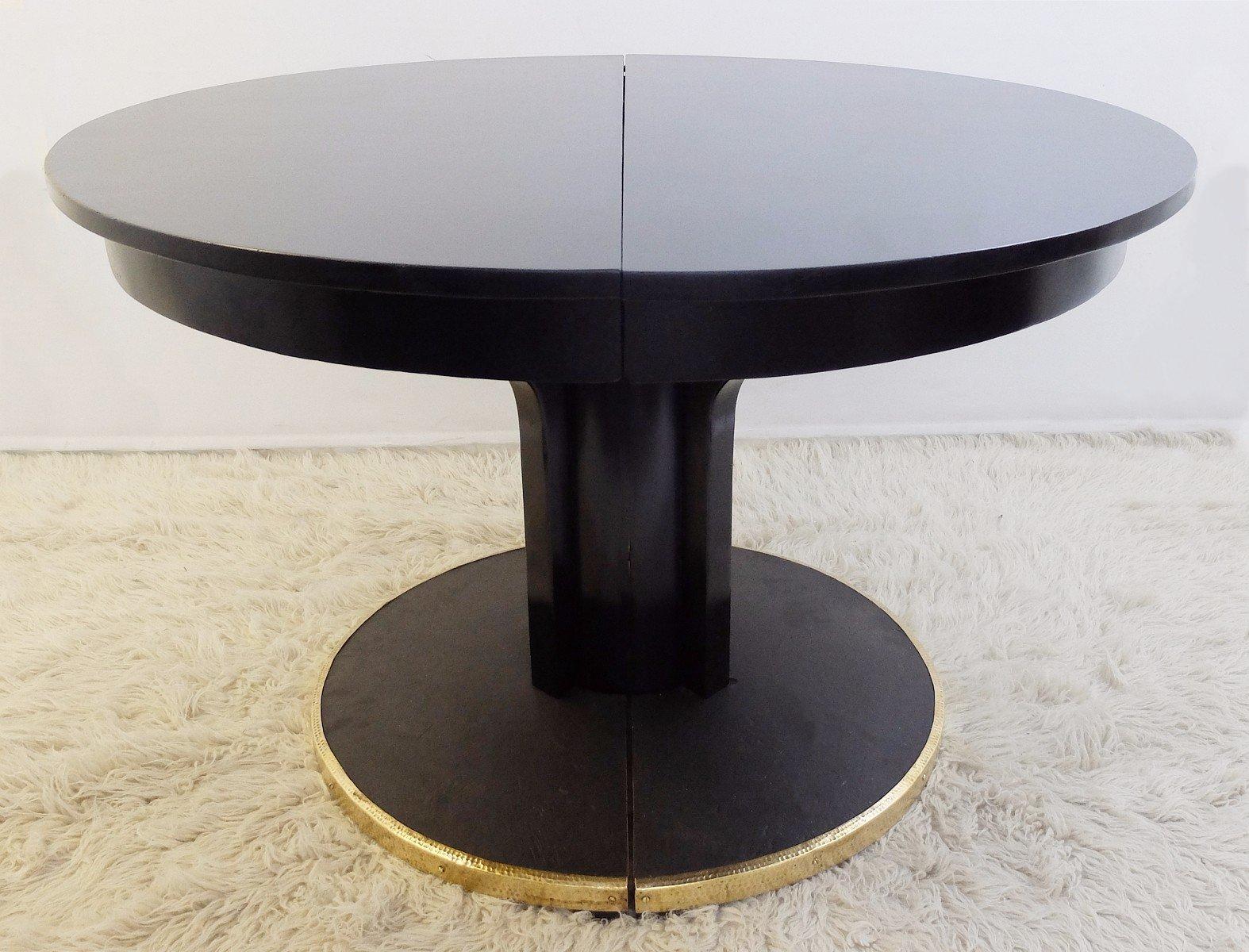 Tavolo rotondo antico in legno laccato nero in vendita su Pamono