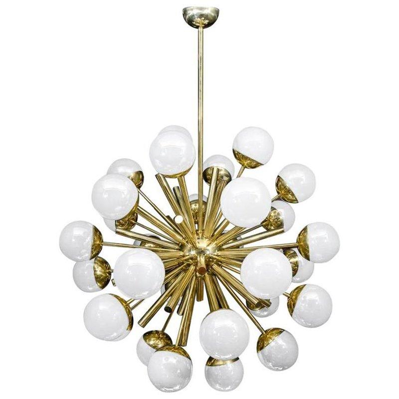 Messing Sputnik Kronleuchter mit leuchtenden Murano Glaskugeln von Glu...