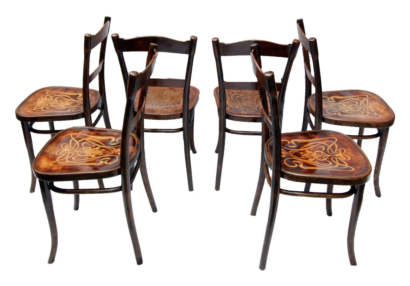 Exceptionnel Antique Decorated Bentwood Dining Chairs From Thonet, Set Of 6