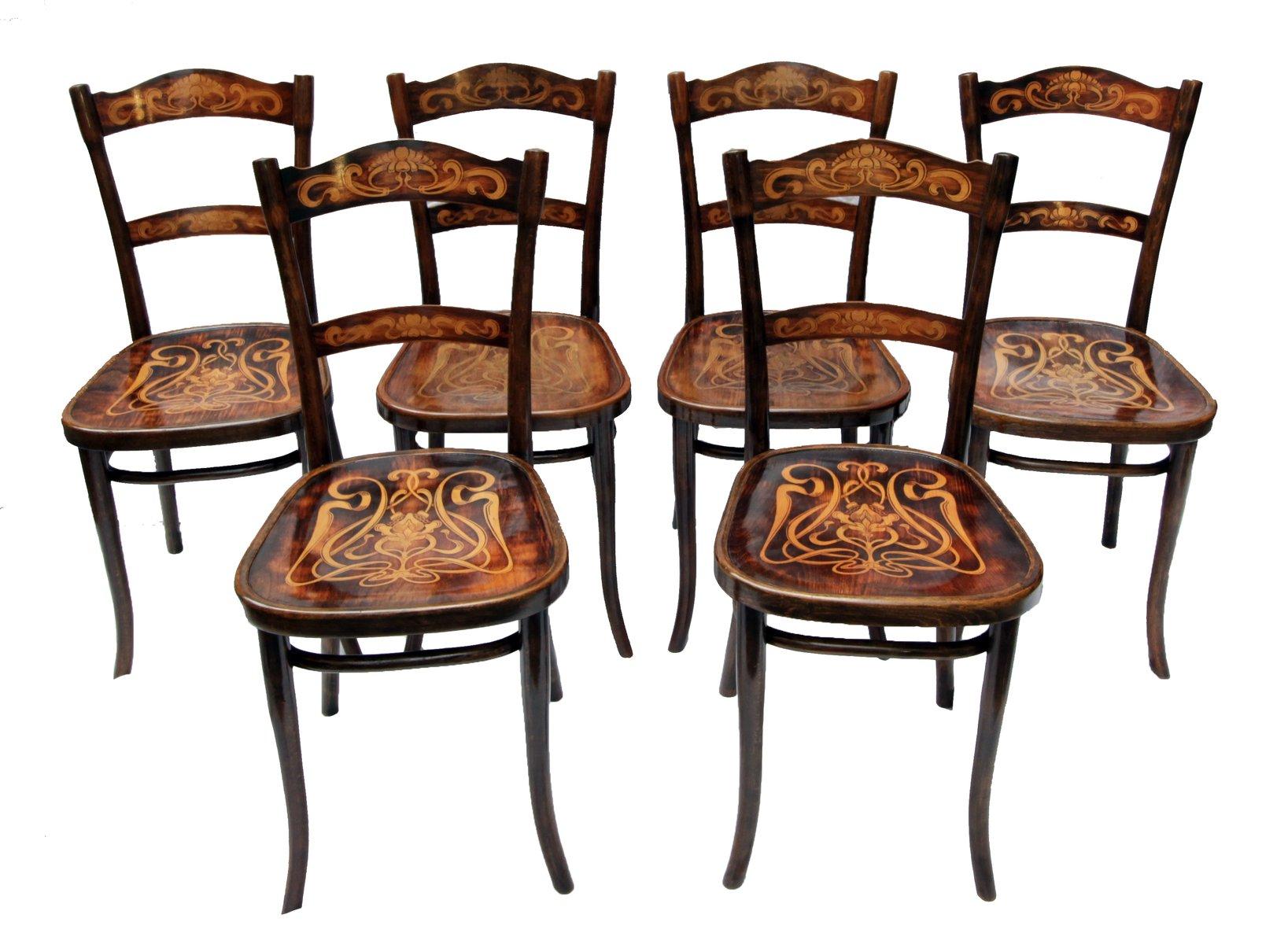 Antike dekorierte bugholz esszimmerst hle von thonet 6er for Thonet esszimmerstuhle