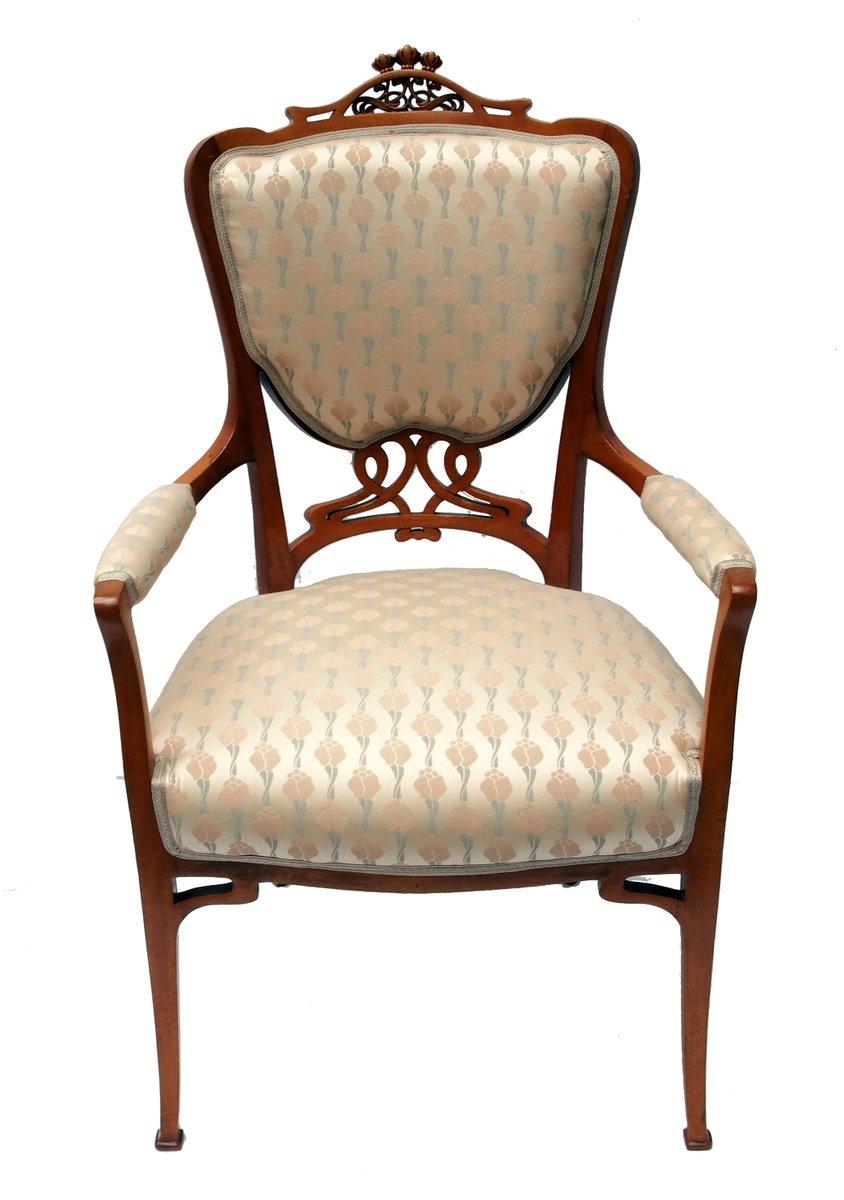 fauteuil art nouveau en acajou avec tapisserie viennoise en vente sur pamono. Black Bedroom Furniture Sets. Home Design Ideas