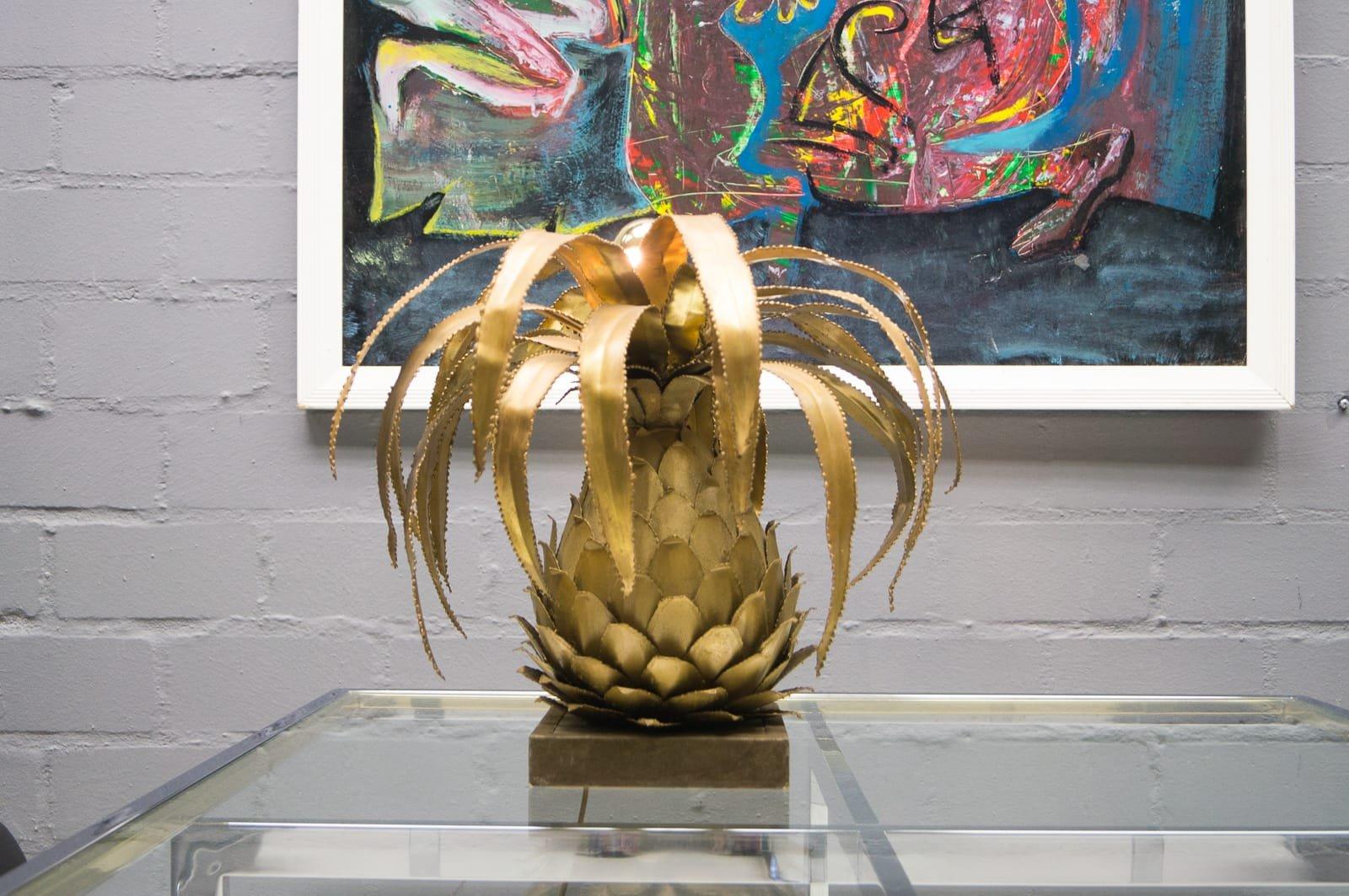 Ananas Tischlampe von Maison Jansen, 1970er