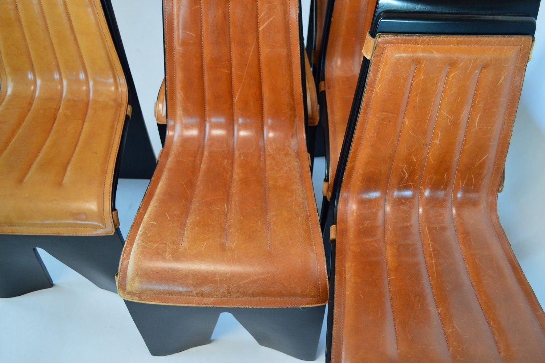 Sedie da pranzo vintage con sedute in pelle di willy rizzo for Sedie da pranzo