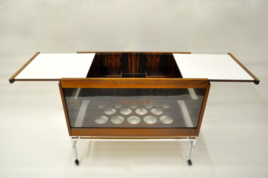 mid century bar cart with extendable table leaves for sale. Black Bedroom Furniture Sets. Home Design Ideas