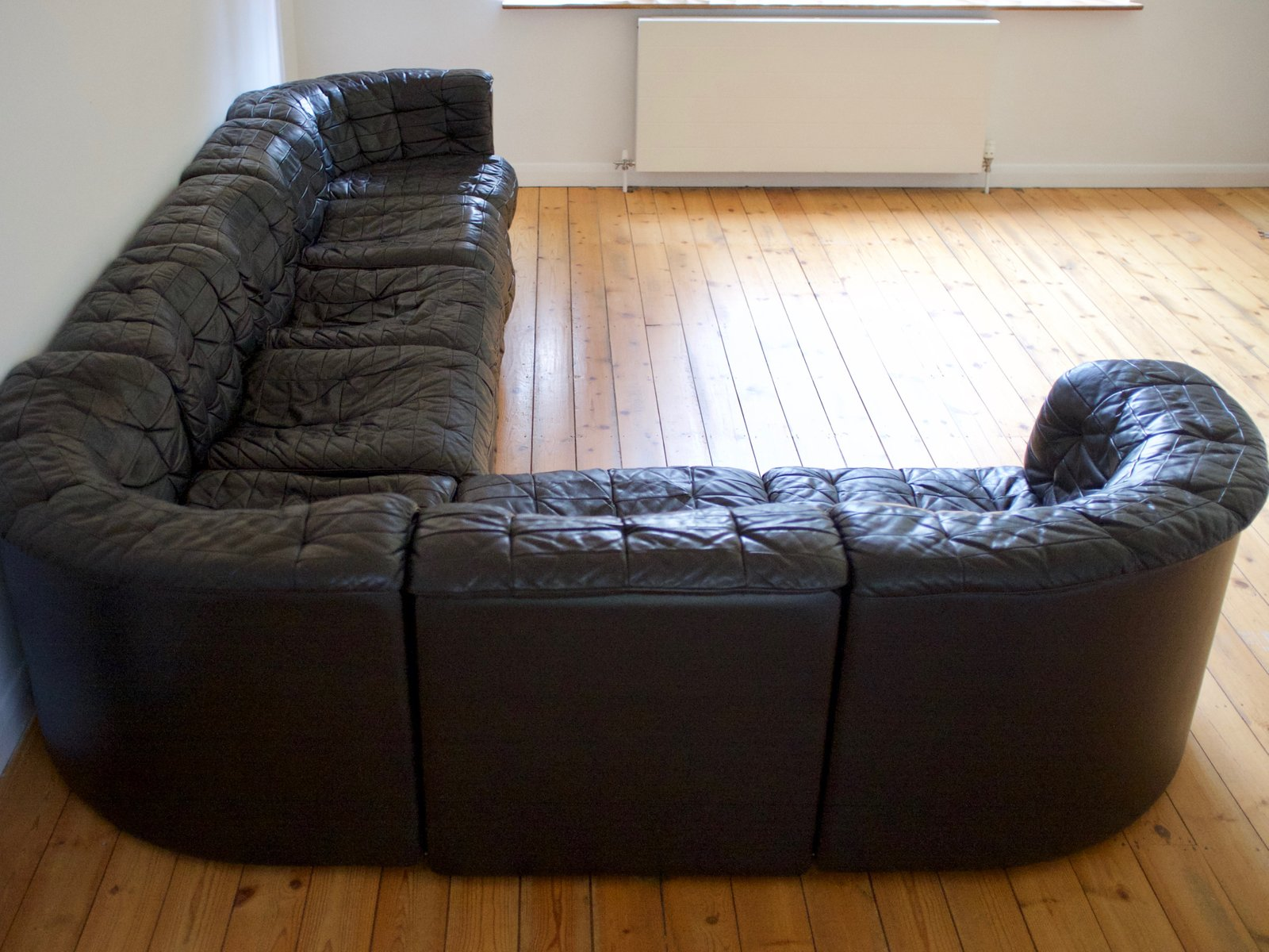 Modular Black Leather Sofa From De Sede 1970s
