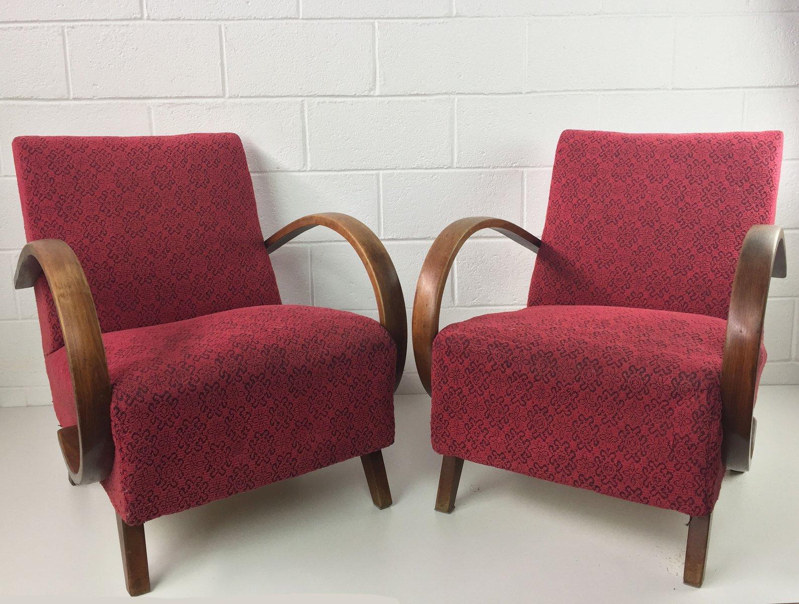 Rote Sessel von Jindrich Halabala für UP Zavody, 1950er, 2er Set