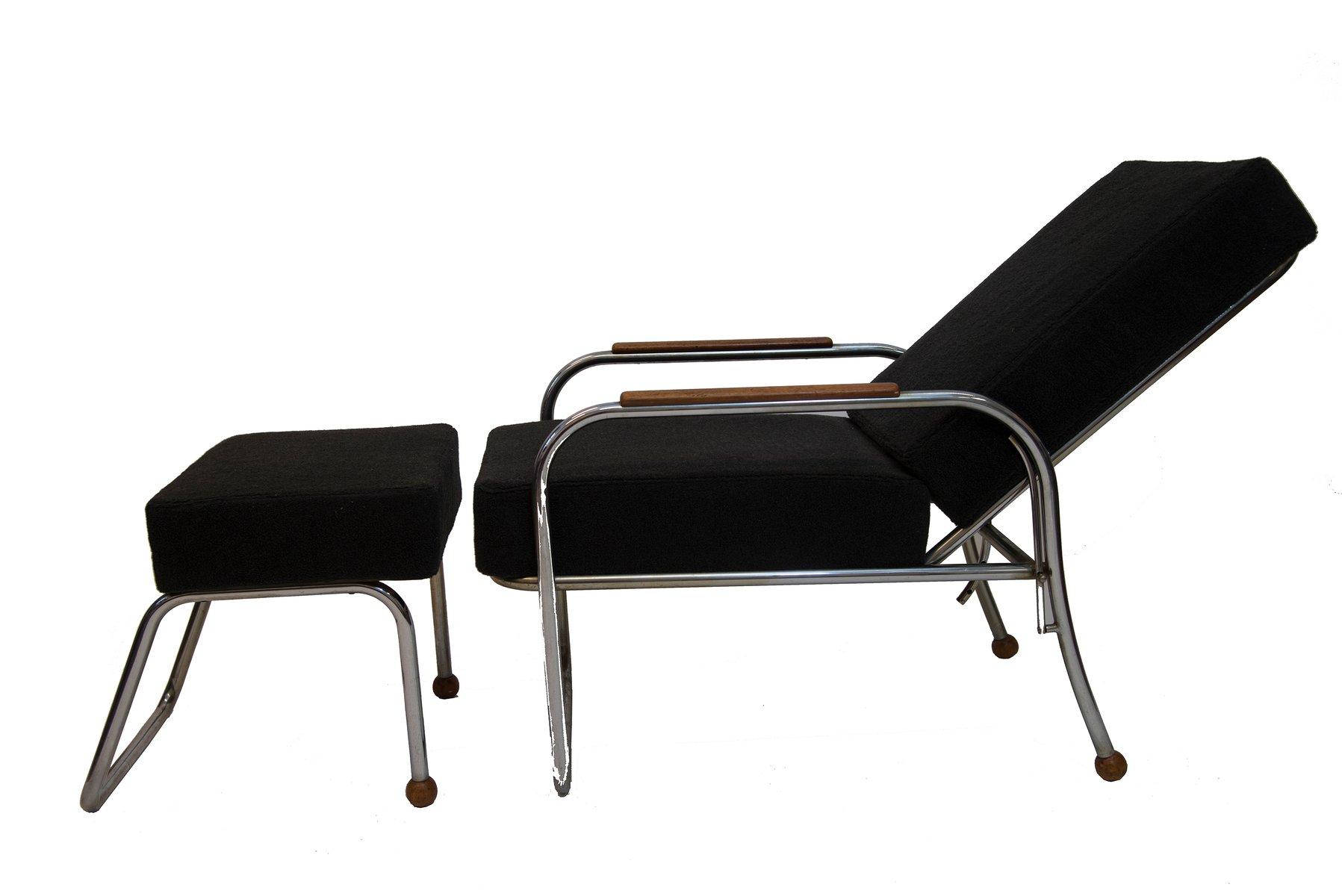 deutscher vintage sessel mit fu hocker bei pamono kaufen. Black Bedroom Furniture Sets. Home Design Ideas