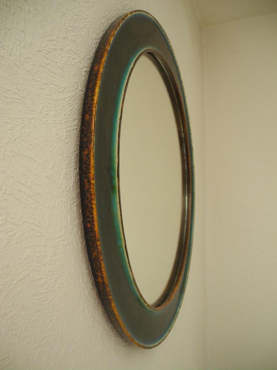 Specchio rotondo vintage turchese in terracotta e smaltato - Specchio rotondo ...