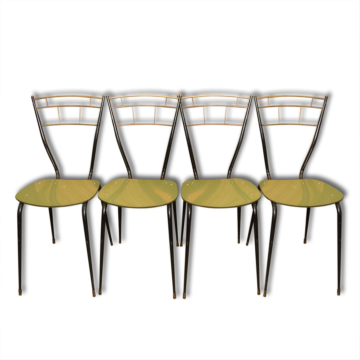 Sillas de comedor italianas Mid-Century con asientos laminados ...