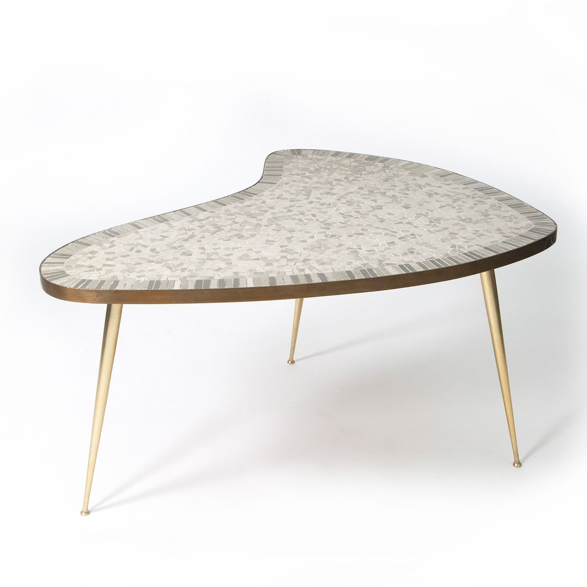 Organic Brass Coffee Table With Mosaic 1950s