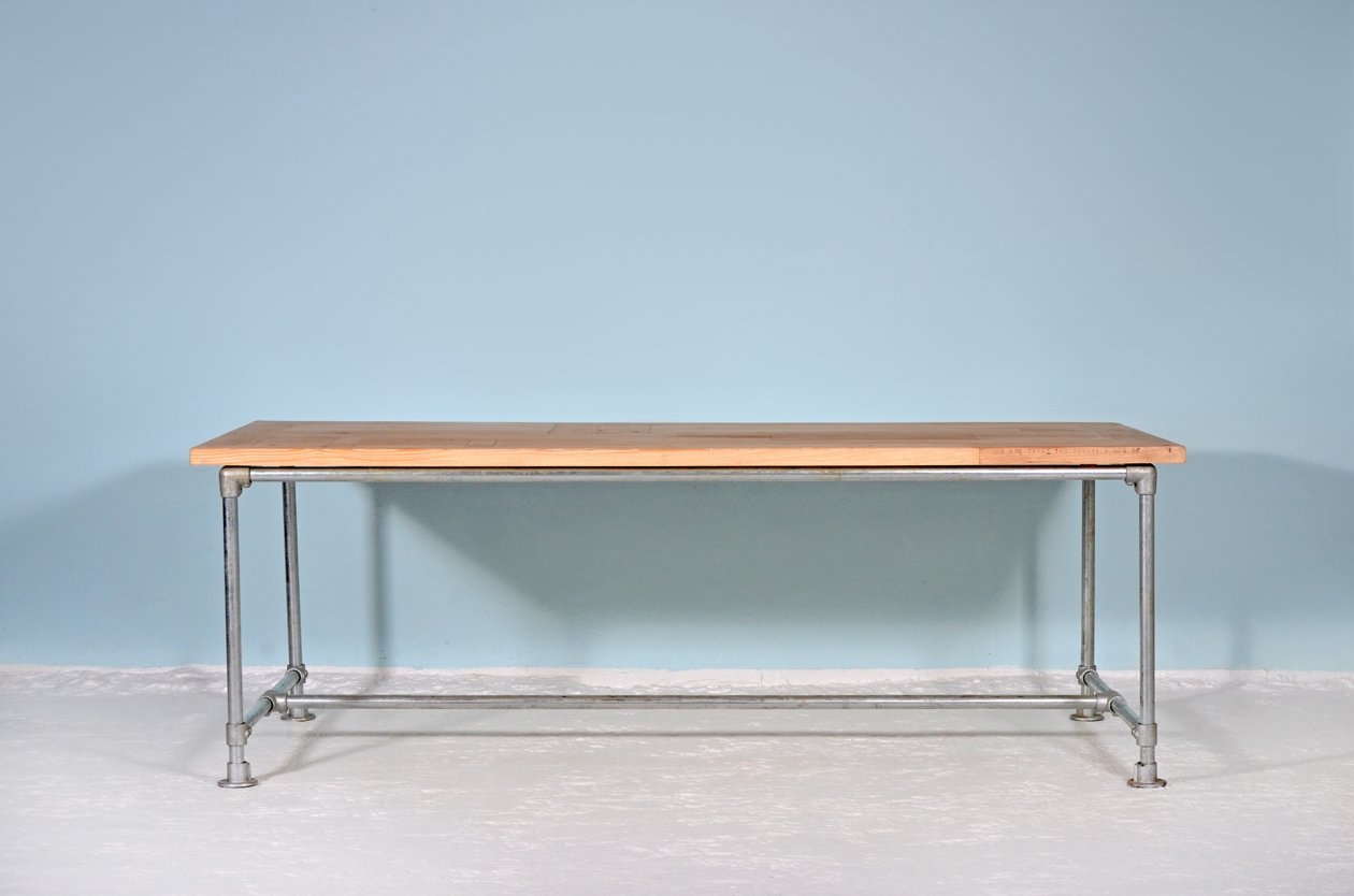 mergelland tisch aus recycletem holz stahl von johanenlies bei pamono kaufen. Black Bedroom Furniture Sets. Home Design Ideas