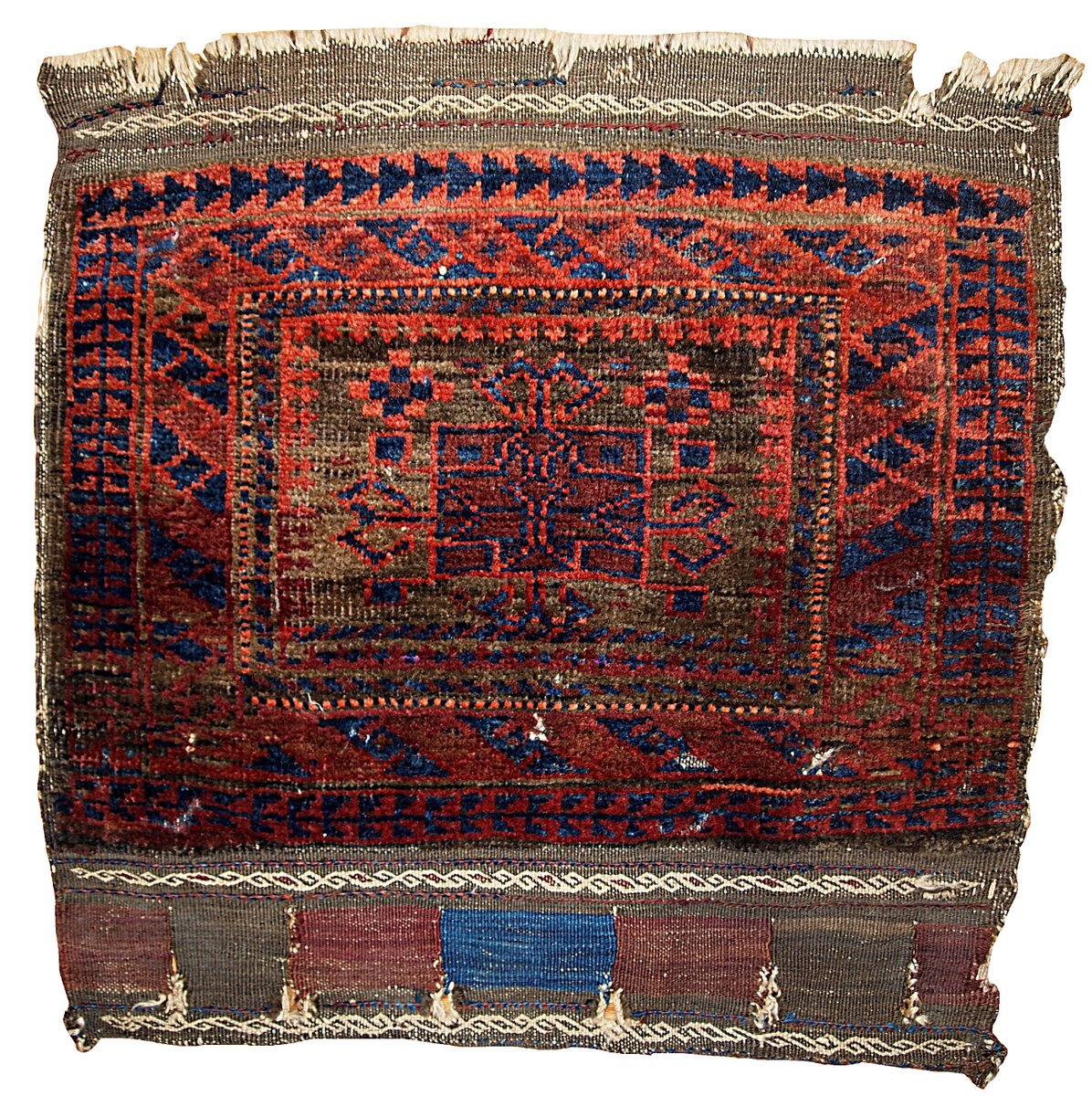 Antique Afghan Rugs: Antique Afghan Baluch Handmade Bagface Rug, 1880s For Sale