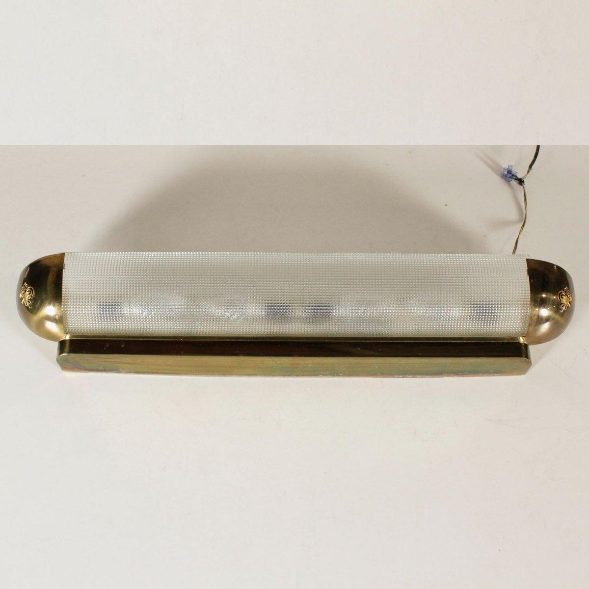 Wandlampe aus Satiniertem Glas & Messing, 1960er