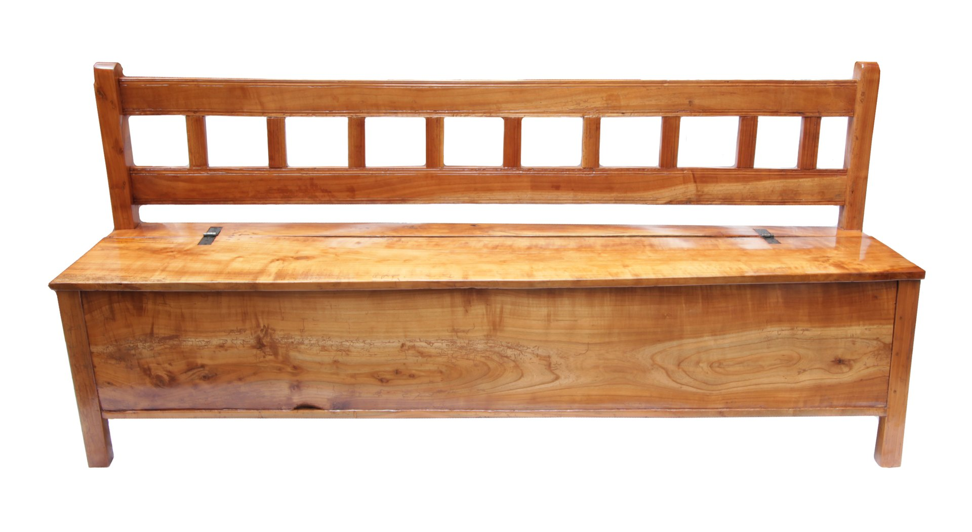Antike Sitzbank aus Massivem Kirschholz mit Aufbewahrung