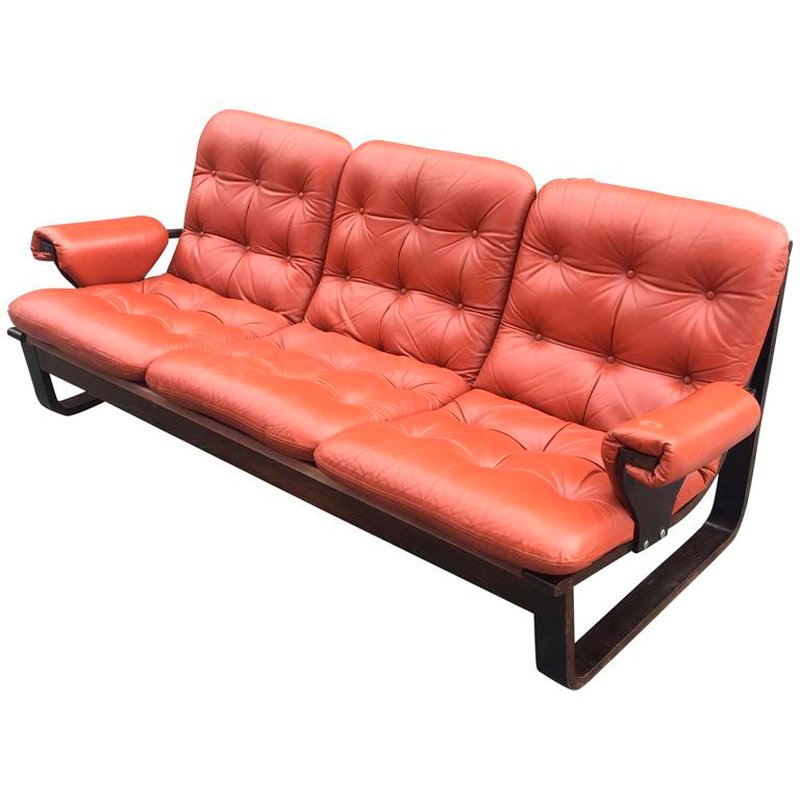 Scandinavian Laminated Wood And Orange Leather Sofa, 1960s