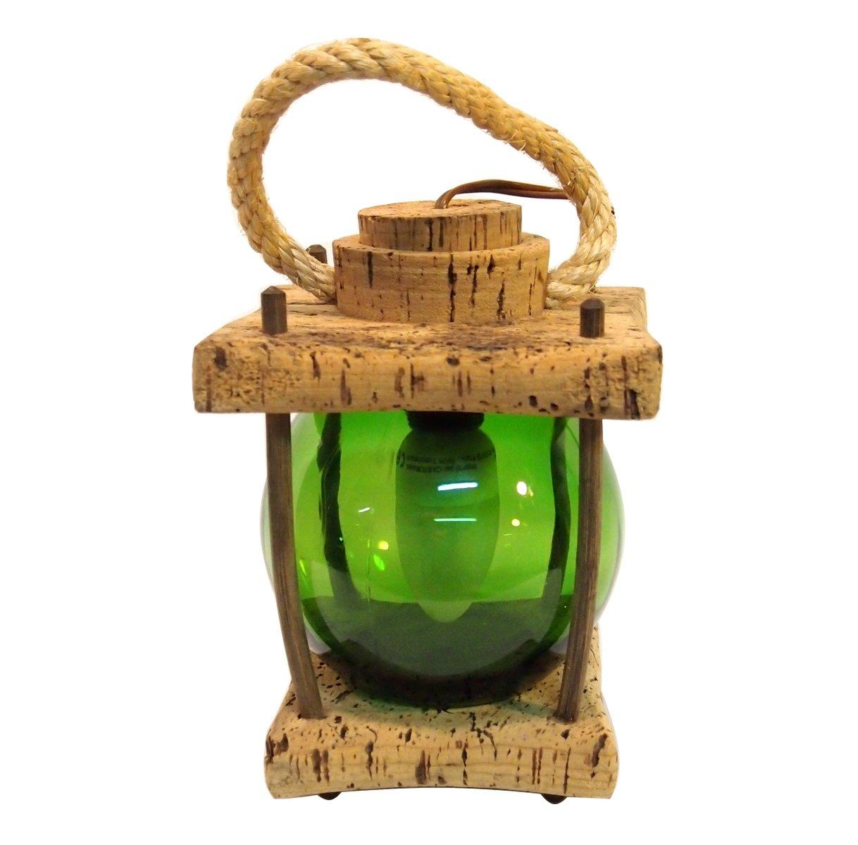 Grüne Tischlampe aus Glas & Mediterranem Kork