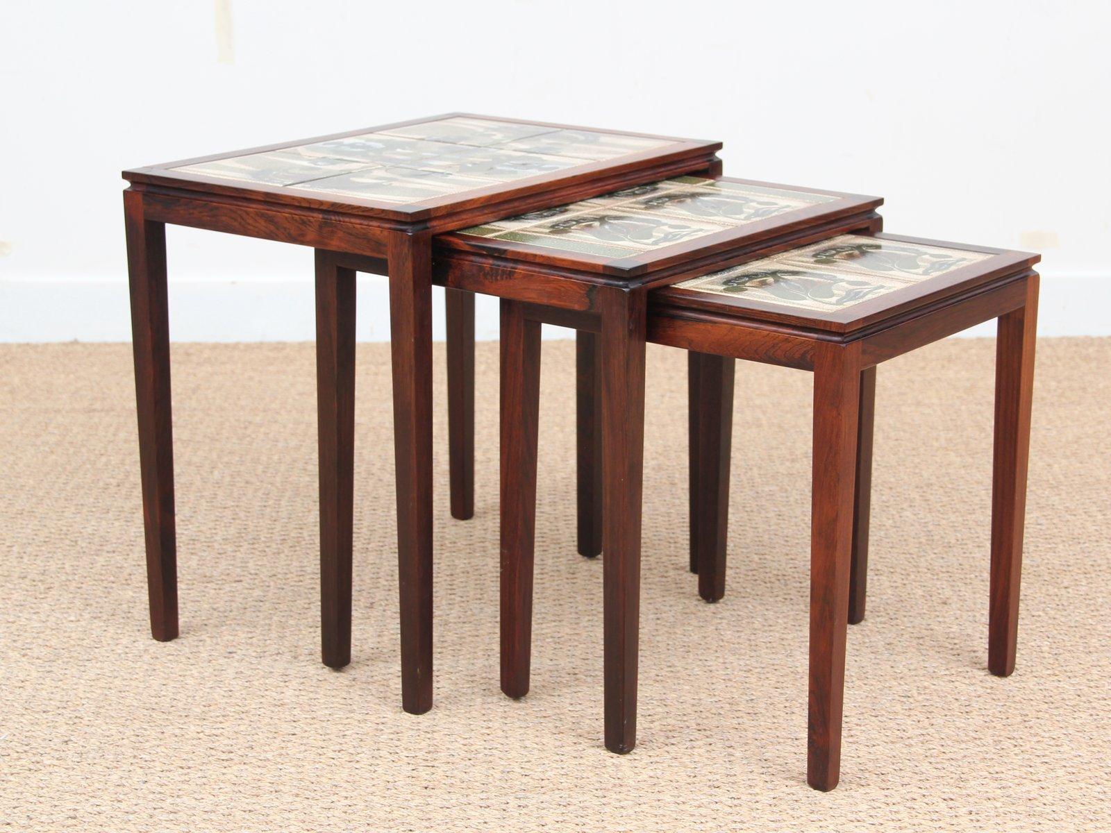 Tavolini a incastro in palissandro brasiliano con piastrelle in