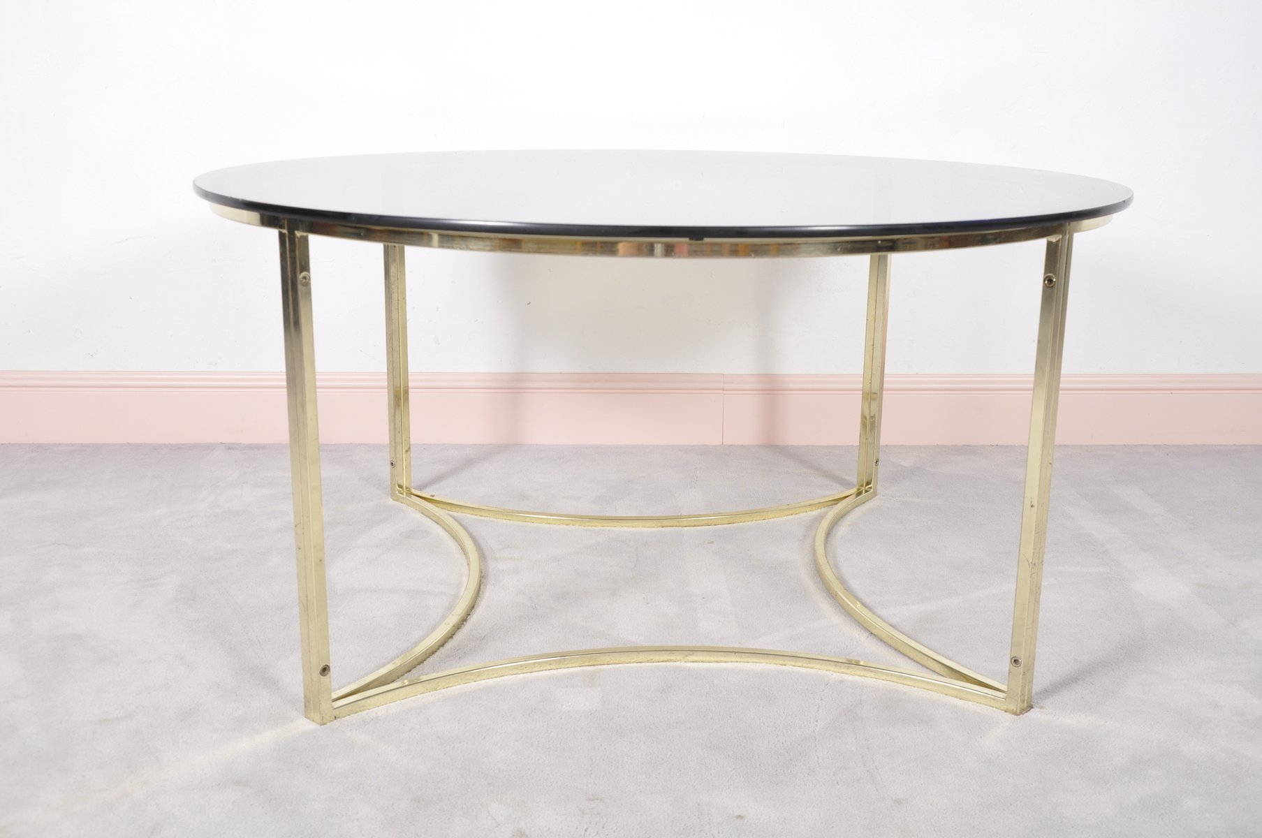 Mid Century Brass Glass Coffee Table