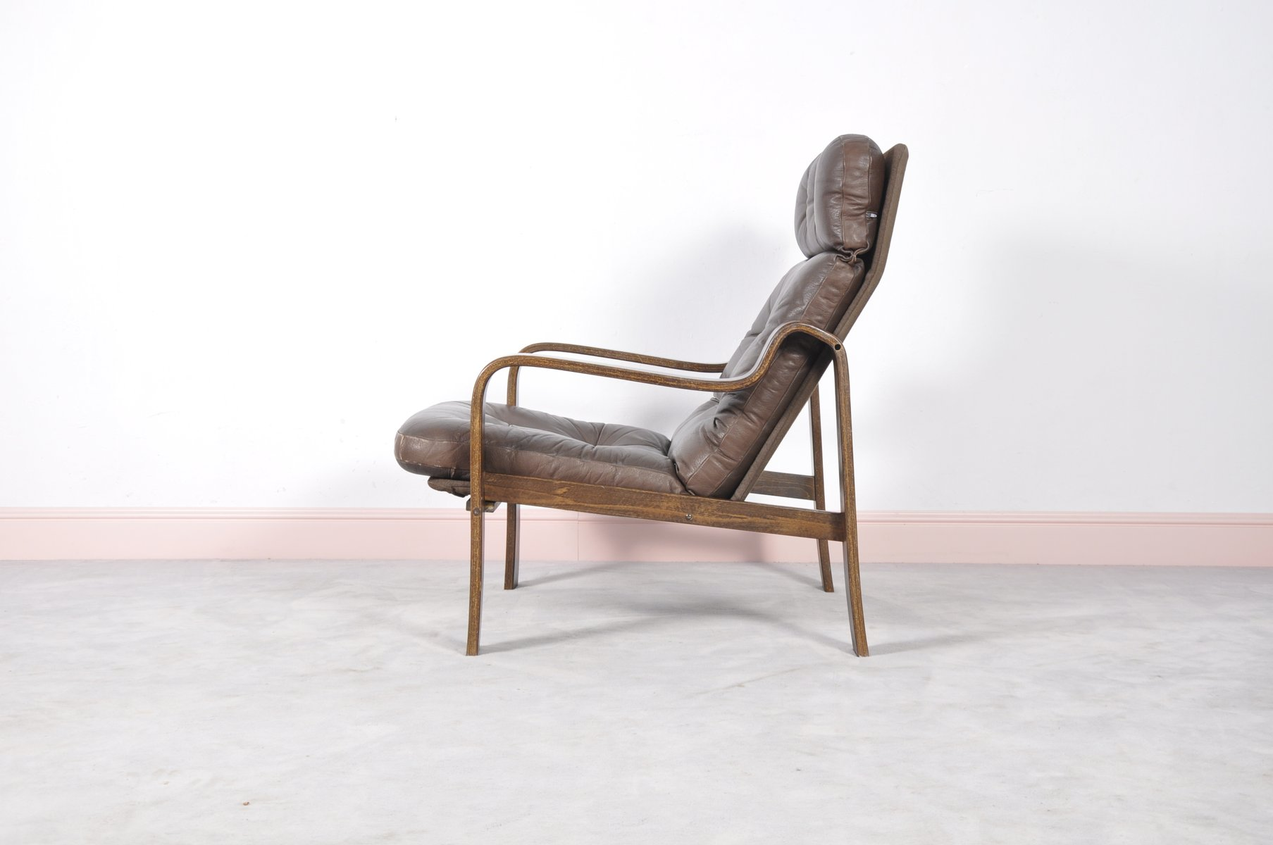 Mid-Century Rosewood, Leather, & Bentwood Armchair for ...