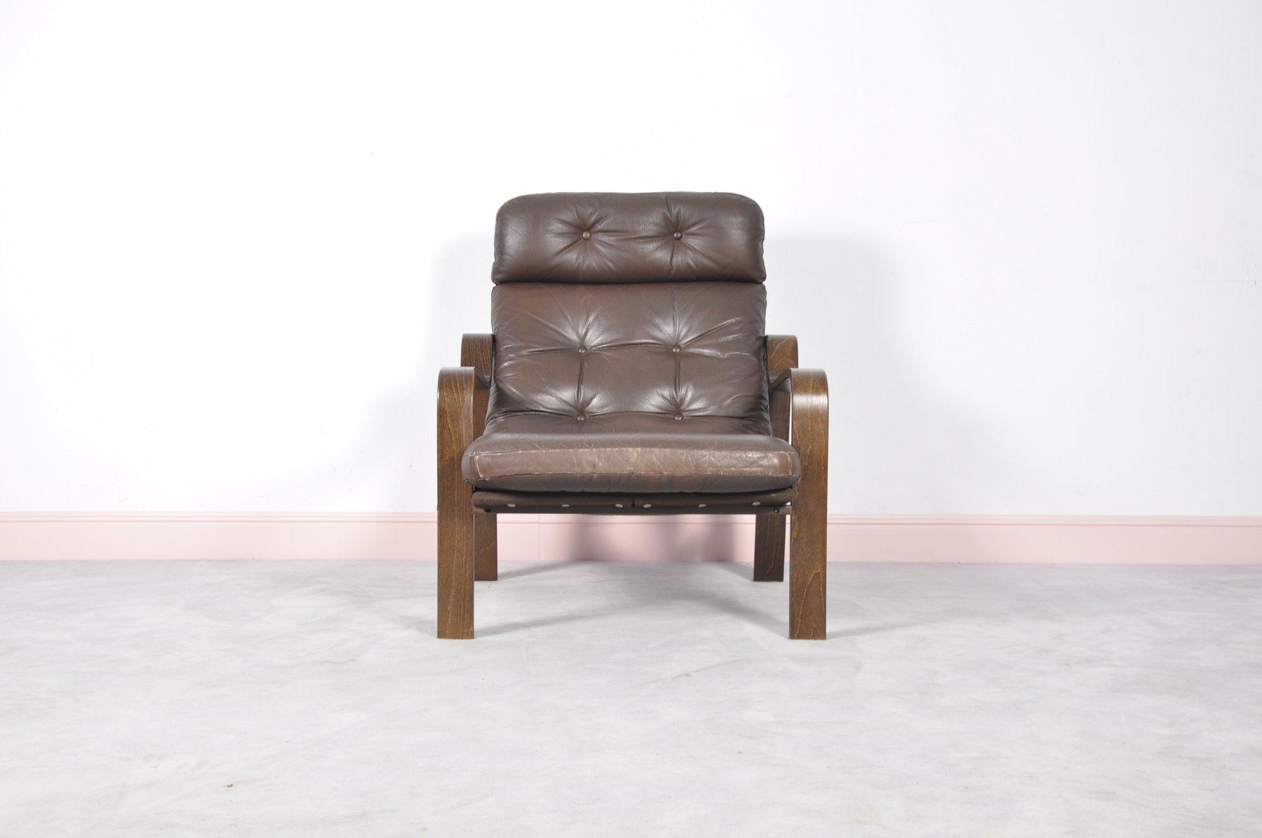 mid century sessel aus palisander leder bugholz bei. Black Bedroom Furniture Sets. Home Design Ideas