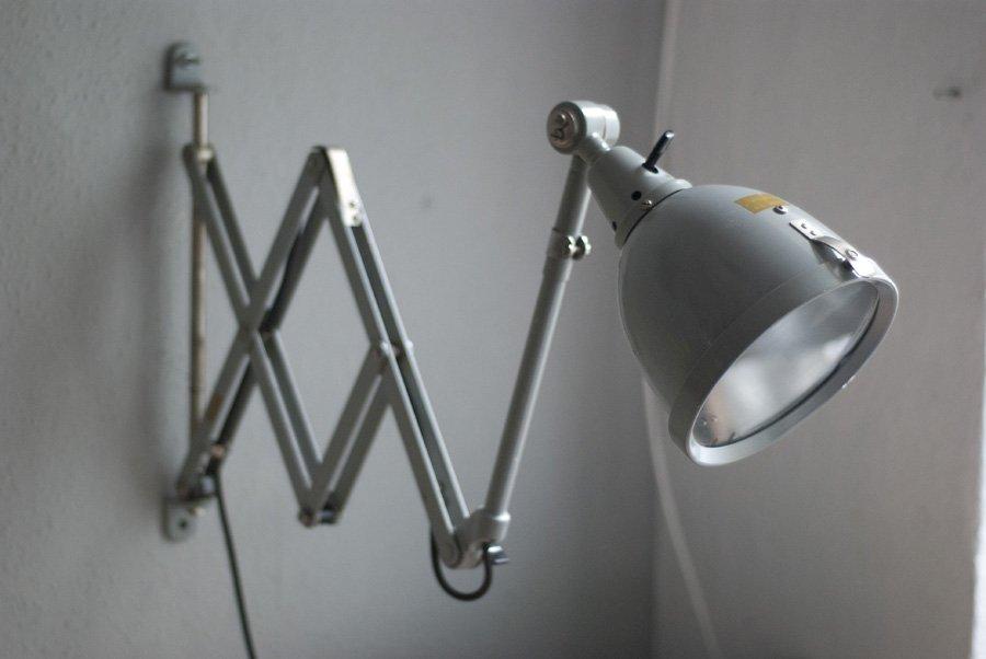 Graublaue Vintage Scherenlampe von Curt Fischer für Midgard
