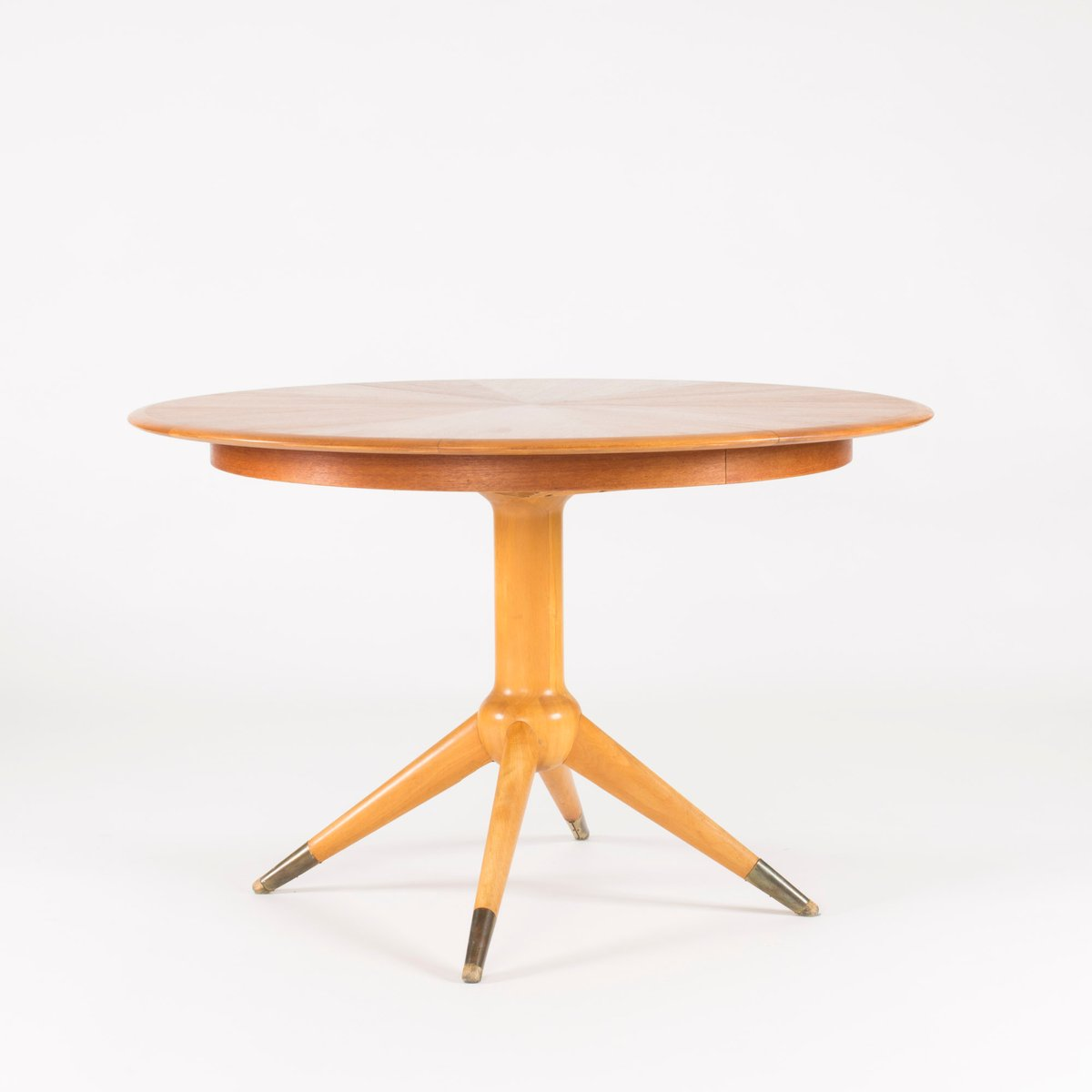 round teak veneer dining table by david ros n for nordiska kompaniet 1950s for sale at pamono. Black Bedroom Furniture Sets. Home Design Ideas