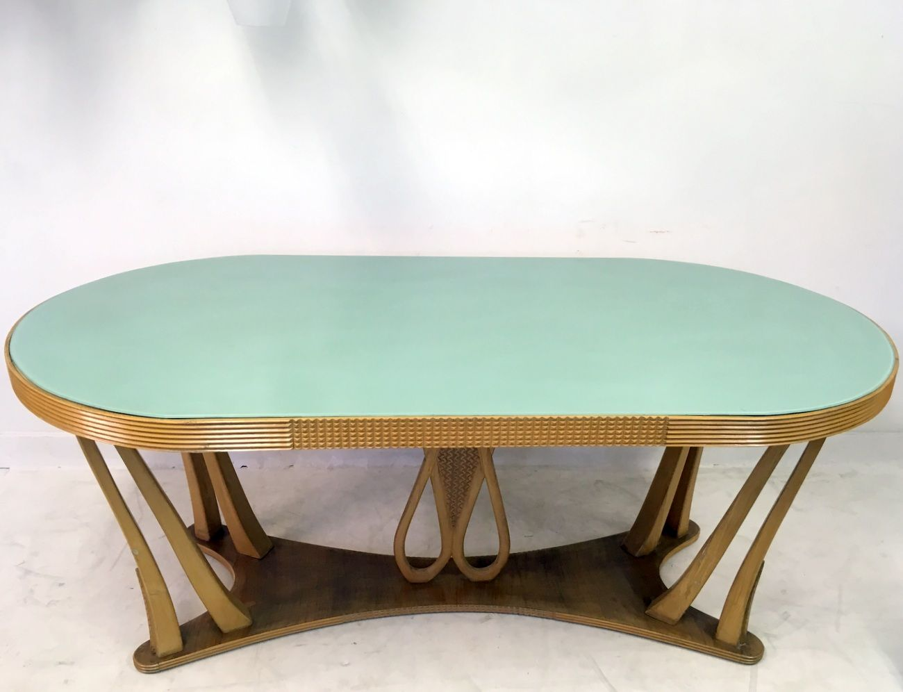 vintage italian dining table with glass top 1940s for sale at pamono. Black Bedroom Furniture Sets. Home Design Ideas