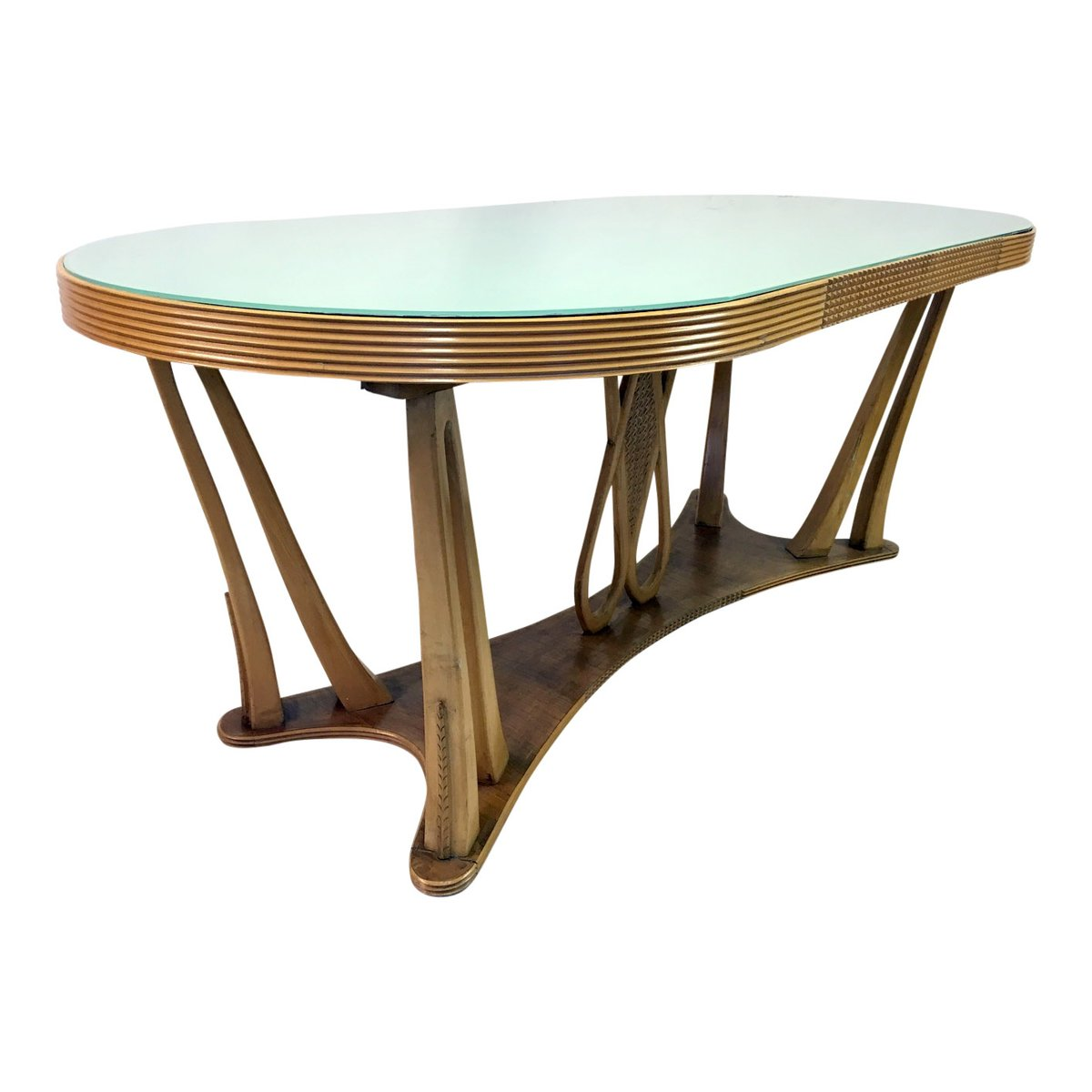 Glass Kitchen Tables For Sale: Vintage Italian Dining Table With Glass Top, 1940s For