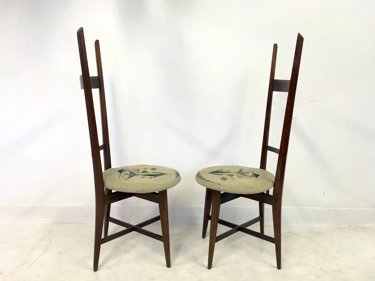 italienische vintage teak st hle spiegel set bei pamono kaufen. Black Bedroom Furniture Sets. Home Design Ideas
