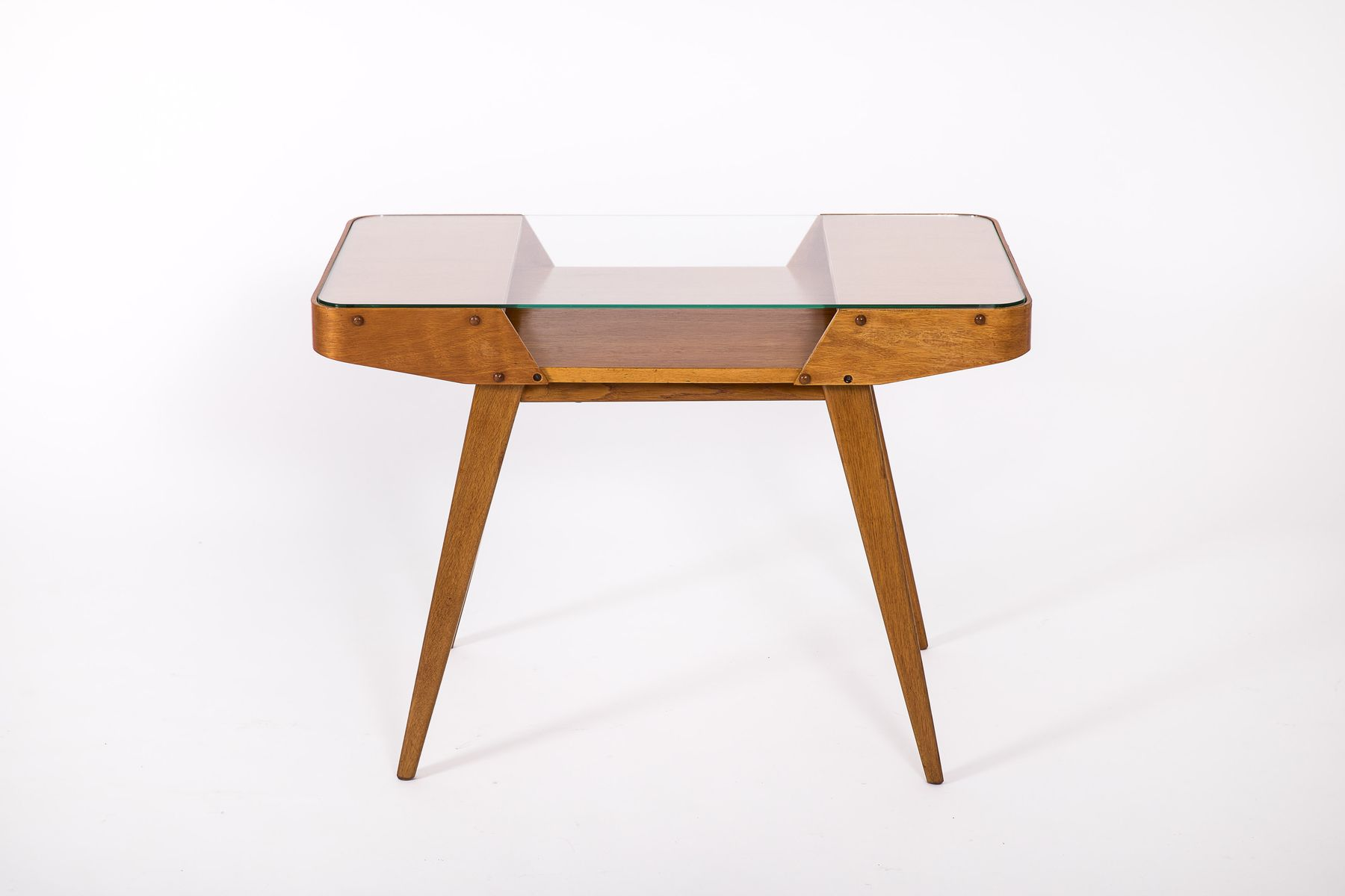 Mid century czech glass top coffee table from interier praha