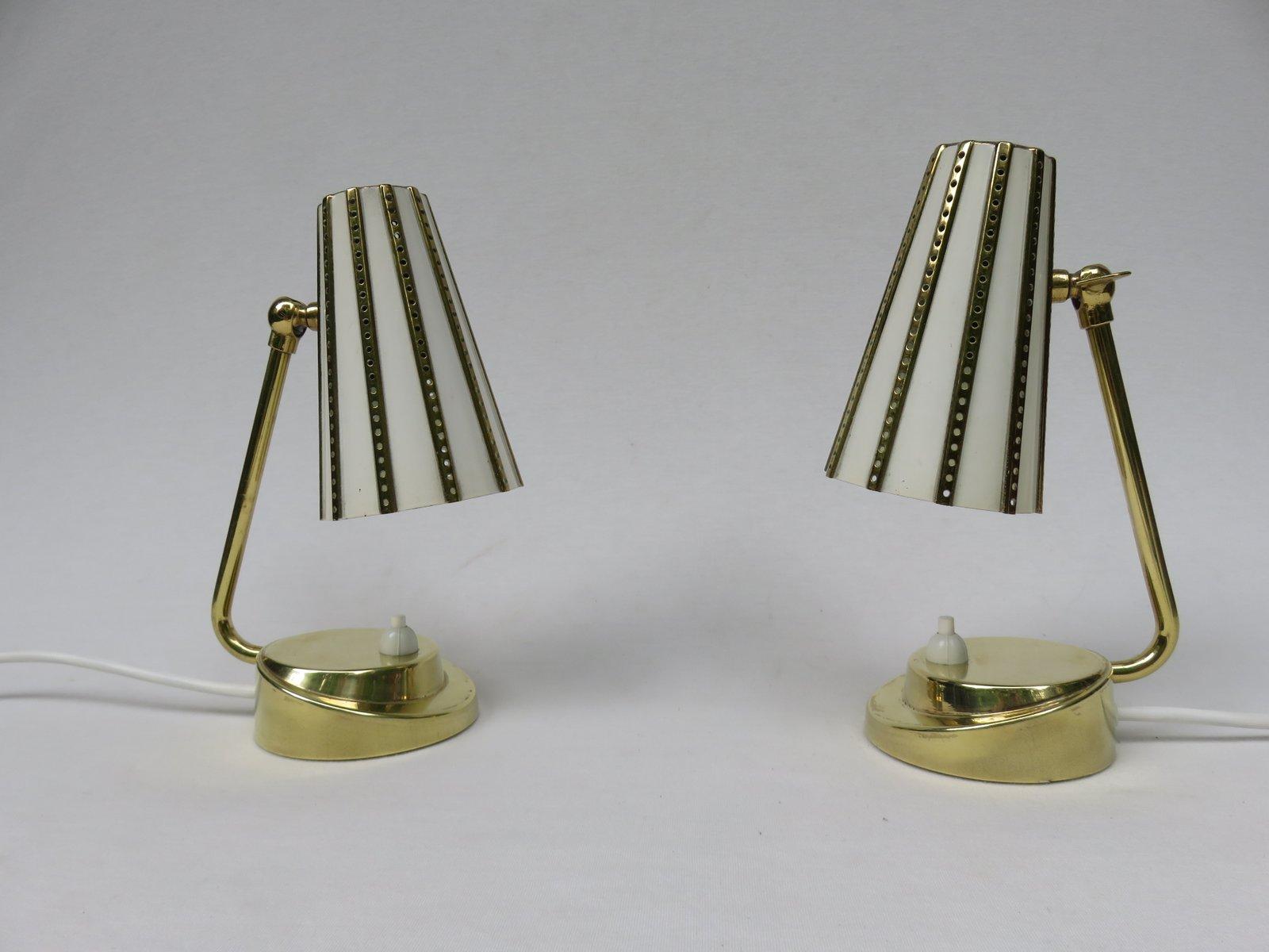 Italienische Messing Nachttischlampen, 1950er, 2er Set